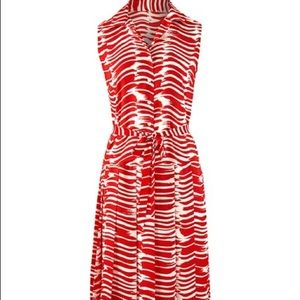 CABi Brushstroke Sleeveless Pleated Dress S